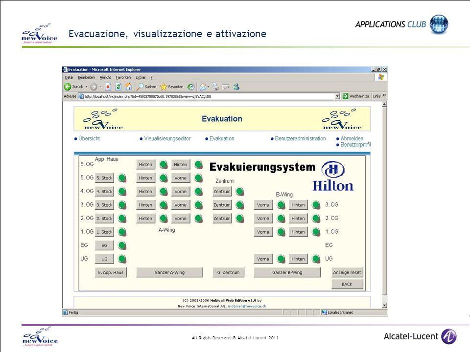All Rights Reserved © Alcatel-Lucent 2011 Evacuazione, visualizzazione e attivazione