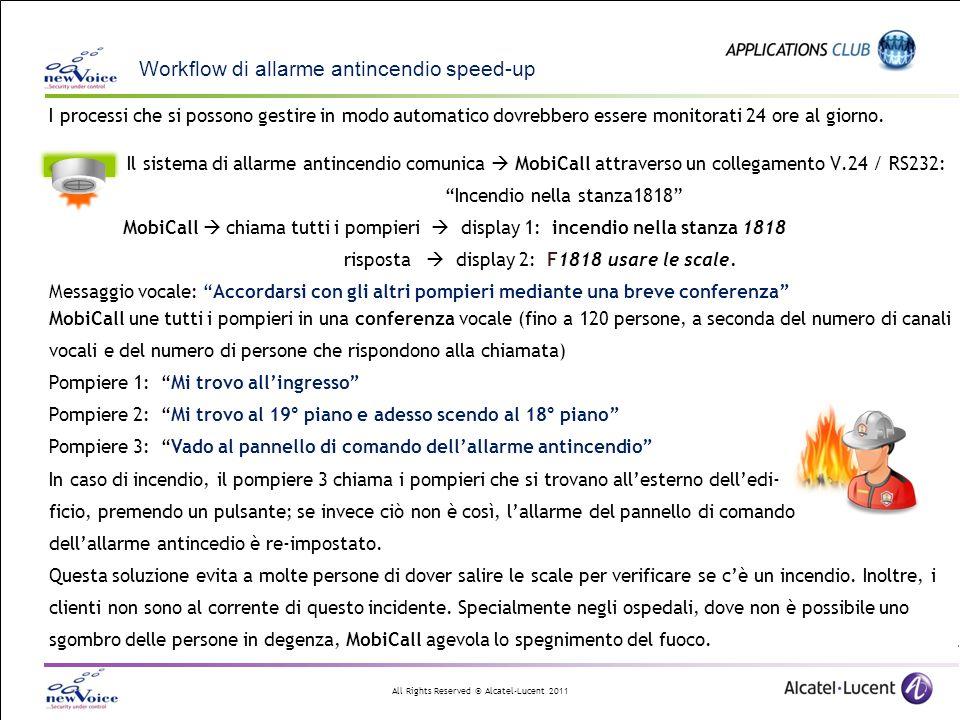 All Rights Reserved © Alcatel-Lucent 2011 MobiCall nella periferia Alcatel-Lucent OXE / OXO Avvenimenti in entrata Registrazione dinamica via collegamento DR Master/ supervisor Text ringtone/answered Mini-messaggi Messaggi vocali – TTS Attivare gli altoparlanti + Immagine Testo formattato + MobiCall web Risorse di monitoraggio Servizi verticali Trap SNMP Allarmi via e-mail 400 e 500 DECT: lavoratore solitario