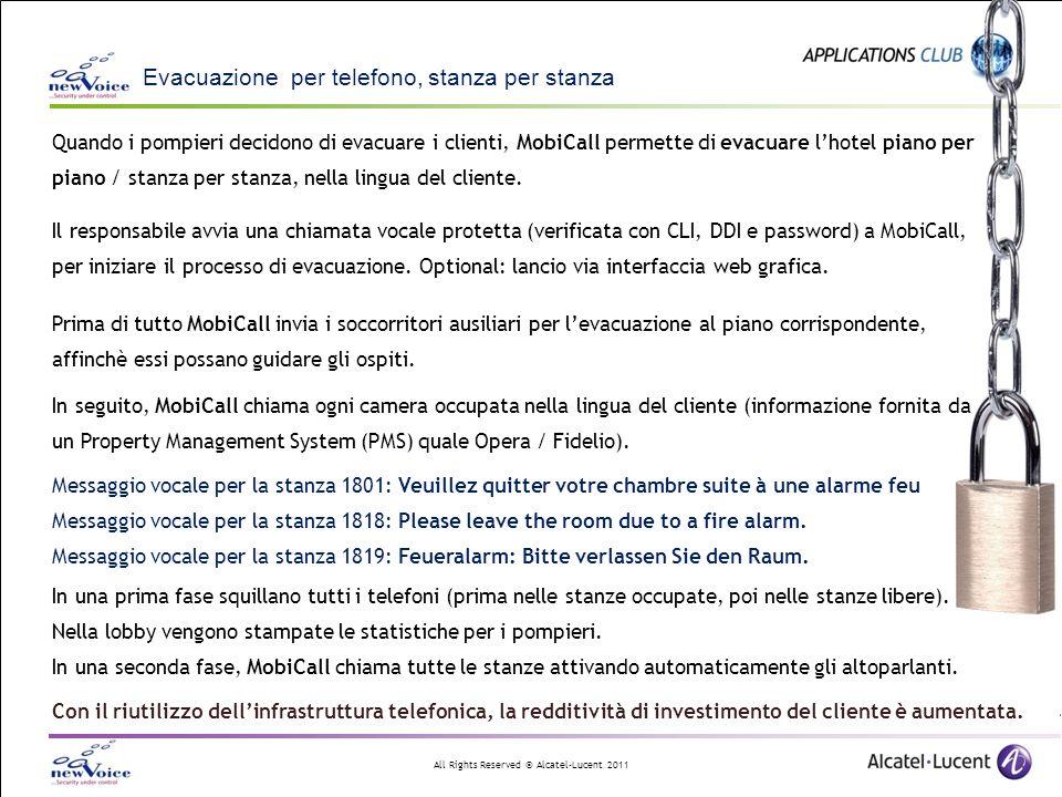 All Rights Reserved © Alcatel-Lucent 2011 Integrazione e flessibilità TAE significa: Allarmi individuali per - gruppo di telefoni - gruppo di zone - gruppo di tasti fino a giungere a - persone - zone - tasti Configurazione semplice