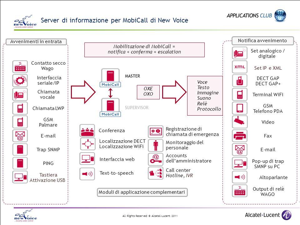All Rights Reserved © Alcatel-Lucent 2011 MobiCall integra delle caratteristiche uniche dei terminali OXE MobiCall connesso via T0/T2 offre le seguenti caratteristiche: Messaggio dinamico di display mentre il telefono squilla e alla risposta 16 + 16 caratteri su DECT 300/400 ; 32 + 32 su WiFi 8118 8128 Invio di messaggi UUI a DECT 300/400 e WiFi 8118/8128 (mini-messaggi con fino a 120 caratteri) Annuncio su altoparlanti (trasmissione) Distinzione di sequenze di suoneria Multi-line DECT 400(never busy line), optional: intrusione di chiamata, interfaccia ANS Licenze CSTA supplementari Funzione intercom: risposta automatica a mani libere eDR-Link recording, XML, HTTP Molte altre caratteristiche