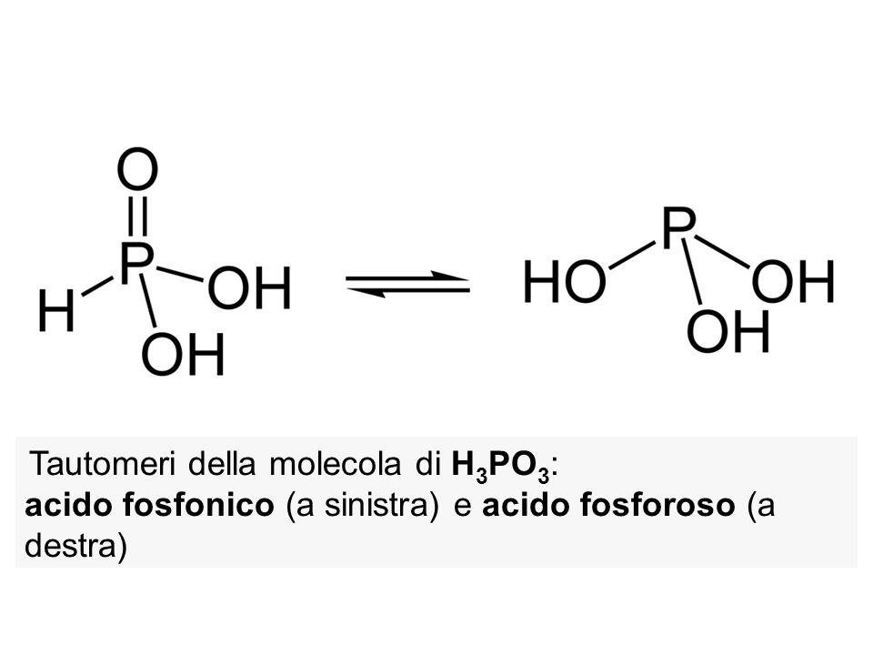 Tautomeri della molecola di H 3 PO 3 : acido fosfonico (a sinistra) e acido fosforoso (a destra)