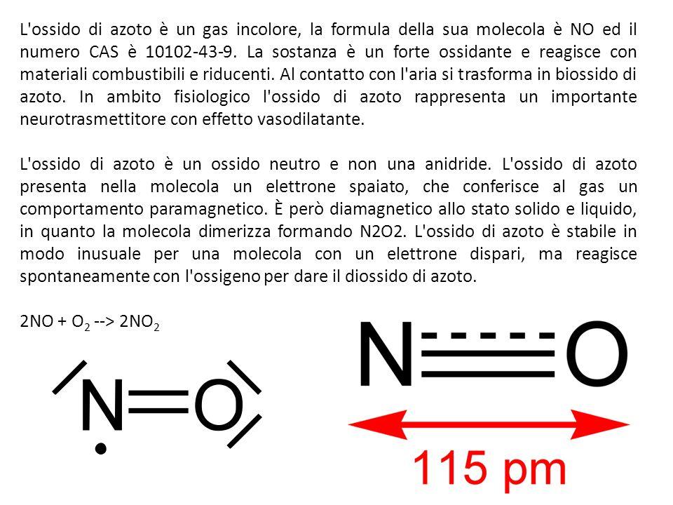 L ossido di azoto è un gas incolore, la formula della sua molecola è NO ed il numero CAS è 10102-43-9.