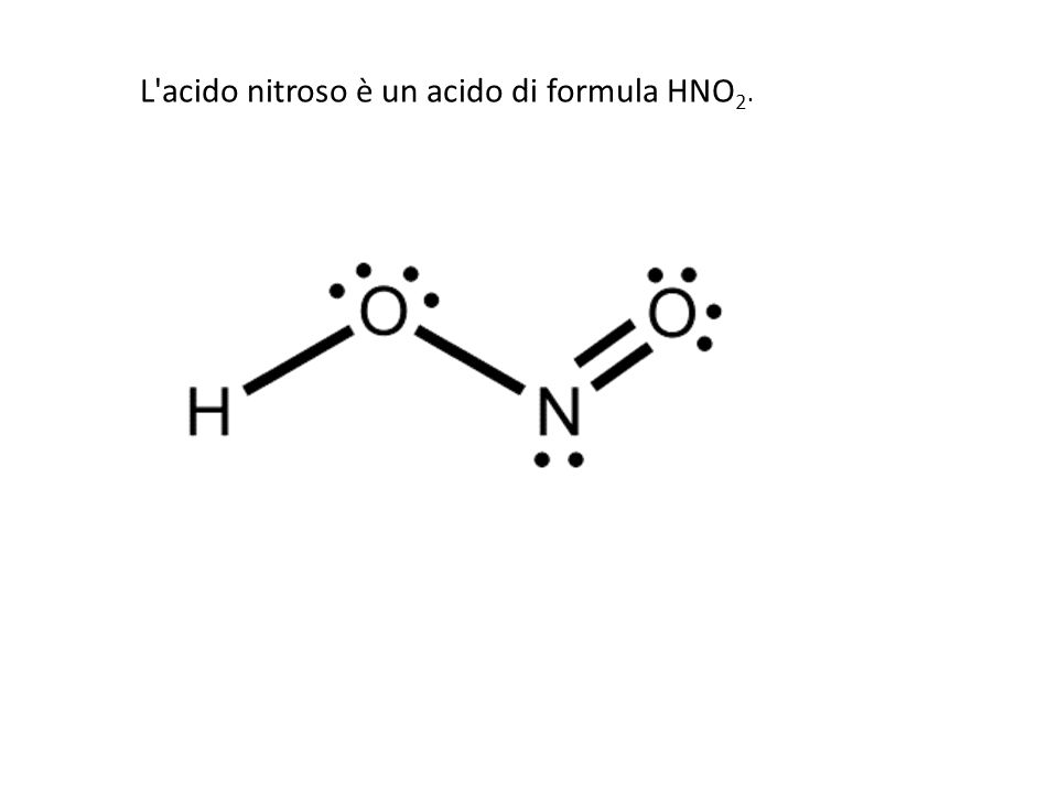 Under acidic conditions the nitrite forms nitrous acid (HNO2), which is protonated and splits into the nitrosonium cation NO + and water: H 2 NO 2 + = H 2 O + NO +.