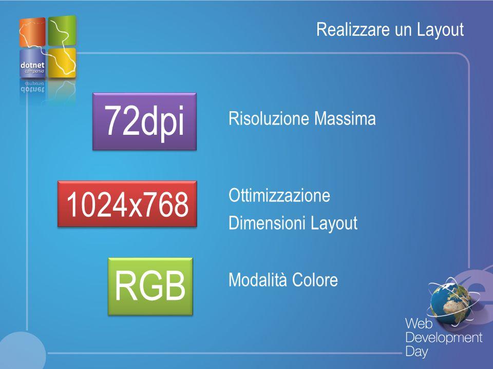 Fare clic per modificare lo stile del titolo Fare clic per modificare stili del testo dello schema – Secondo livello Terzo livello – Quarto livello » Quinto livello Realizzare un Layout 72dpi 1024x768 RGB Risoluzione Massima Ottimizzazione Dimensioni Layout Modalità Colore
