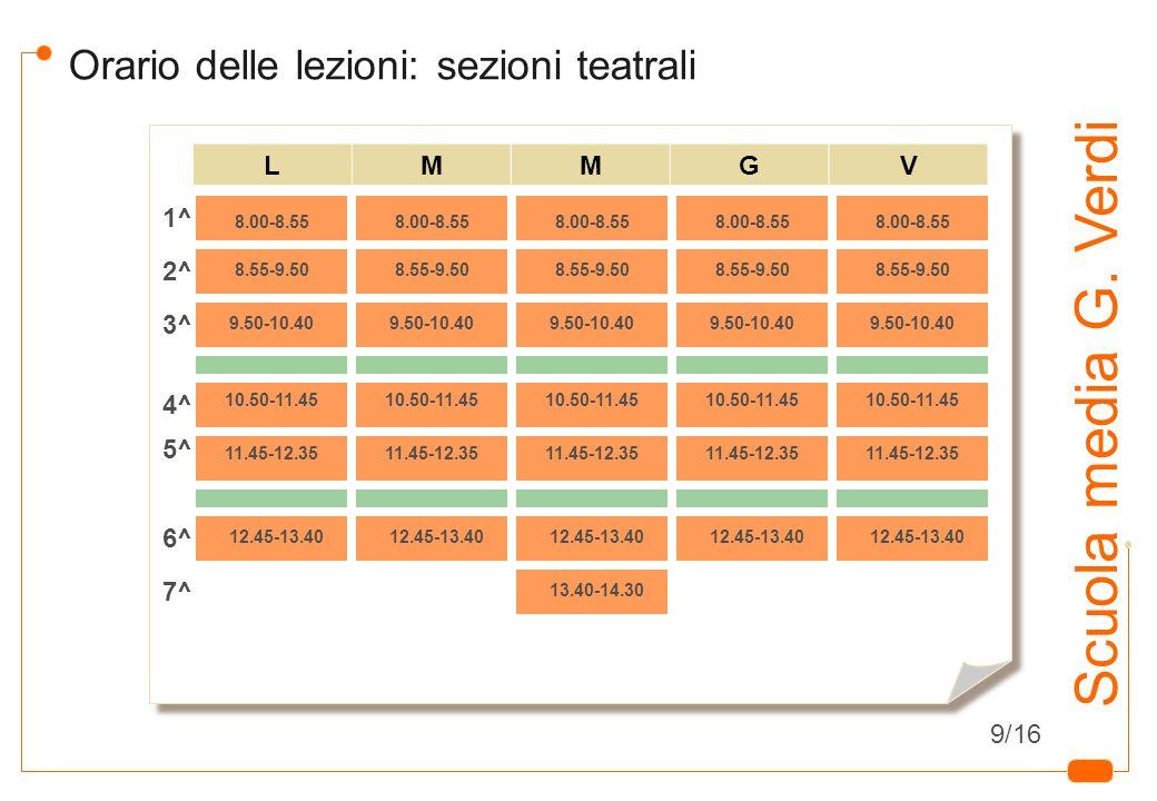 7 Scuola media G. Verdi Orario delle lezioni: sezioni teatrali LMMGV 8.00-8.55 8.55-9.50 9.50-10.40 10.50-11.45 11.45-12.35 12.45-13.40 1^ 2^ 3^ 4^ 5^