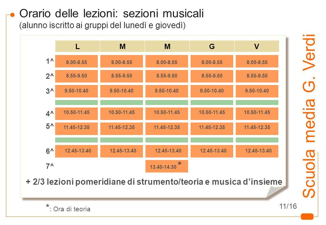 9 Scuola media G. Verdi Orario delle lezioni: sezioni musicali (alunno iscritto ai gruppi del lunedì e giovedì) LMMGV 8.00-8.55 8.55-9.50 9.50-10.40 1