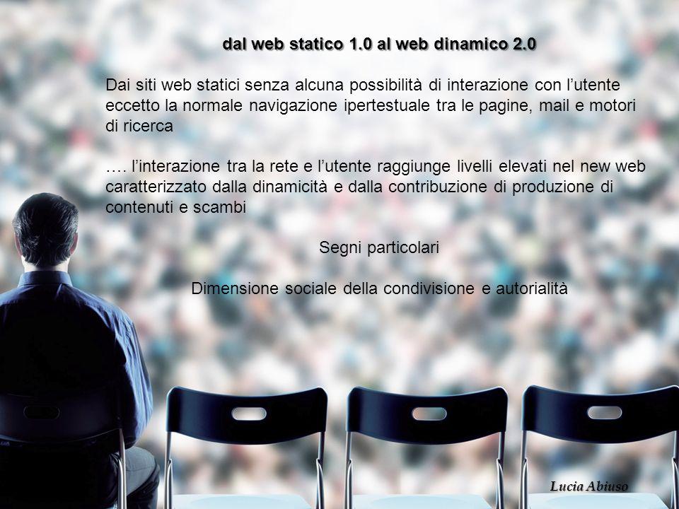dal web statico 1.0 al web dinamico 2.0 Dai siti web statici senza alcuna possibilità di interazione con lutente eccetto la normale navigazione iperte