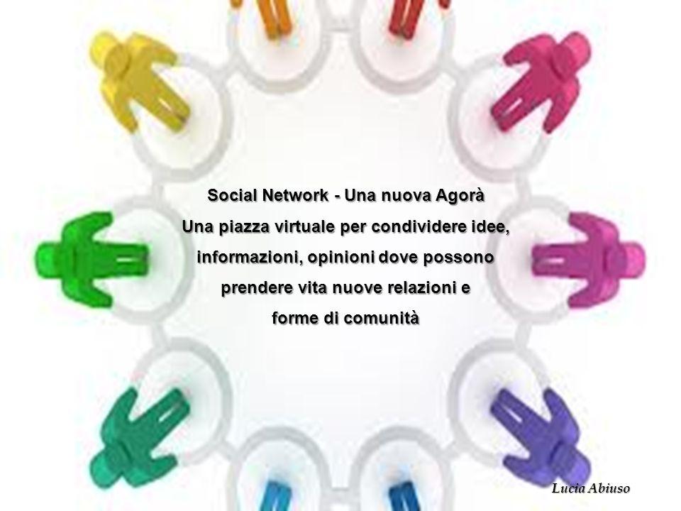 Social Network - Una nuova Agorà Una piazza virtuale per condividere idee, informazioni, opinioni dove possono prendere vita nuove relazioni e forme d