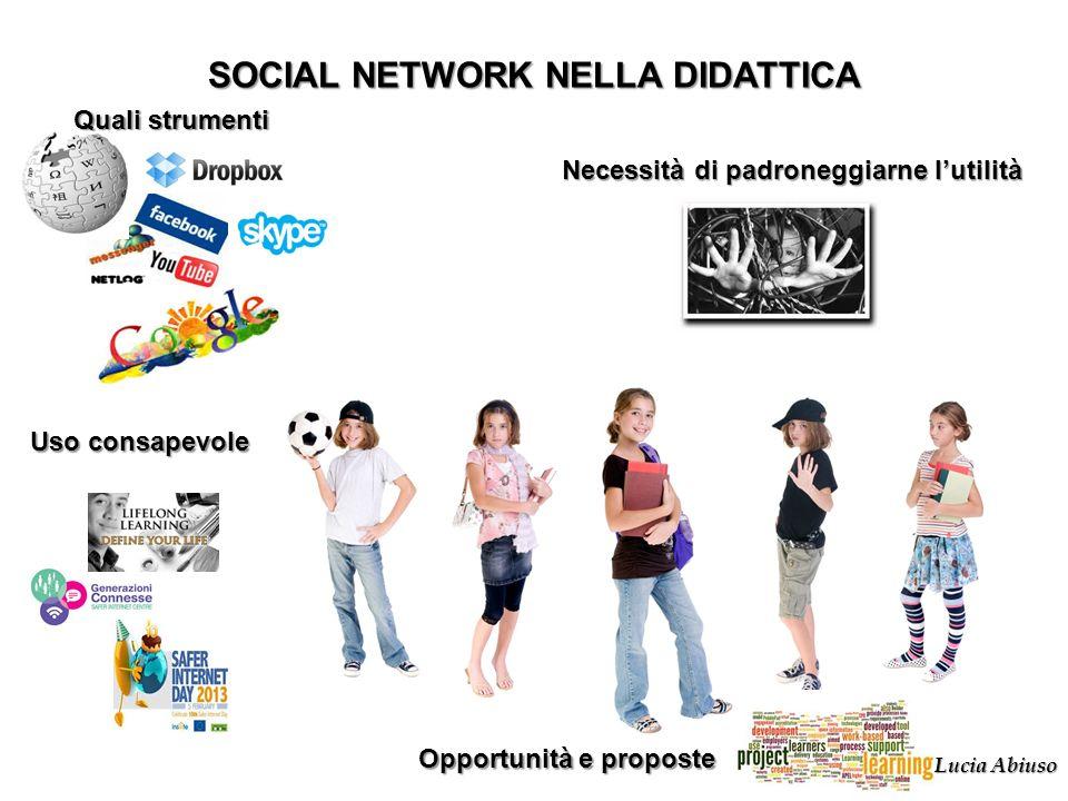 Quali strumenti SOCIAL NETWORK NELLA DIDATTICA Necessità di padroneggiarne lutilità Uso consapevole Opportunità e proposte Lucia Abiuso
