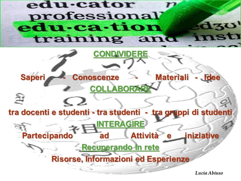 CONDIVIDERE Saperi - Conoscenze - Materiali - idee COLLABORARE tra docenti e studenti - tra studenti - tra gruppi di studenti INTERAGIRE Partecipando