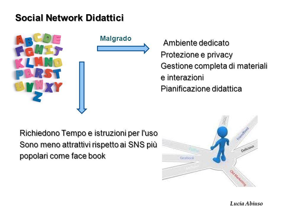 Social Network Didattici Ambiente dedicato Protezione e privacy Gestione completa di materiali e interazioni Pianificazione didattica Richiedono Tempo