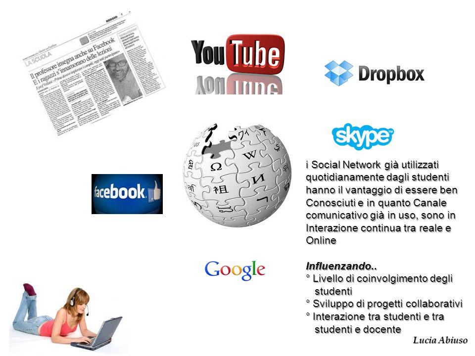 i Social Network già utilizzati quotidianamente dagli studenti hanno il vantaggio di essere ben Conosciuti e in quanto Canale comunicativo già in uso,