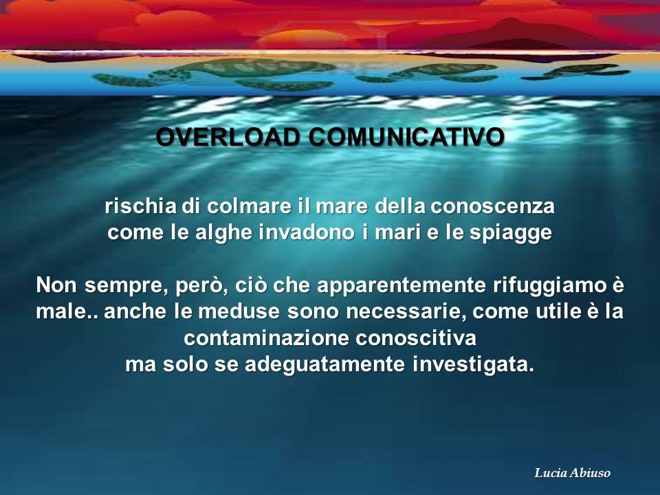 OVERLOAD COMUNICATIVO rischia di colmare il mare della conoscenza come le alghe invadono i mari e le spiagge Non sempre, però, ciò che apparentemente