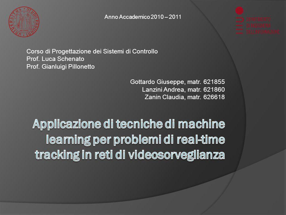 Introduzione (1/4) 03/03/2011Corso di Progettazione dei Sistemi di Controllo2 Scopo del progetto Applicazione delle tecniche di Machine Learning ad un problema di visual-tracking Sviluppo di un algoritmo in real-time con SVM Riduzione dellonere computazionale