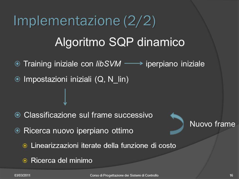 Implementazione (2/2) Algoritmo SQP dinamico Training iniziale con libSVMiperpiano iniziale Impostazioni iniziali (Q, N_lin) Classificazione sul frame