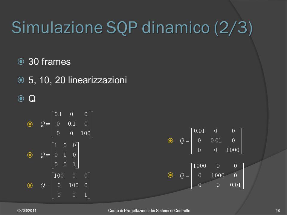 Simulazione SQP dinamico (2/3) 03/03/2011Corso di Progettazione dei Sistemi di Controllo18 30 frames 5, 10, 20 linearizzazioni Q