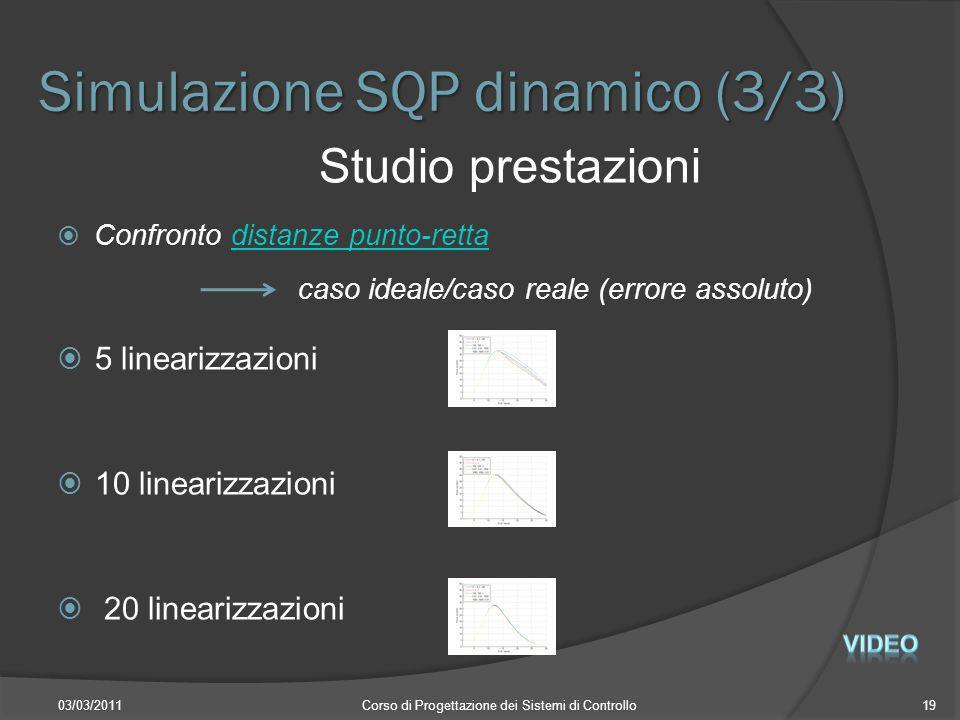 Simulazione SQP dinamico (3/3) 03/03/2011Corso di Progettazione dei Sistemi di Controllo19 Studio prestazioni Confronto distanze punto-rettadistanze p