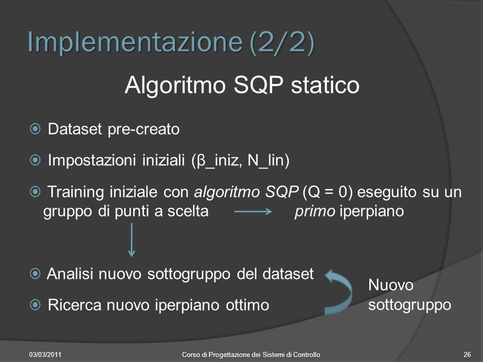 Implementazione (2/2) Algoritmo SQP statico Dataset pre-creato Impostazioni iniziali (β_iniz, N_lin) Training iniziale con algoritmo SQP (Q = 0) esegu