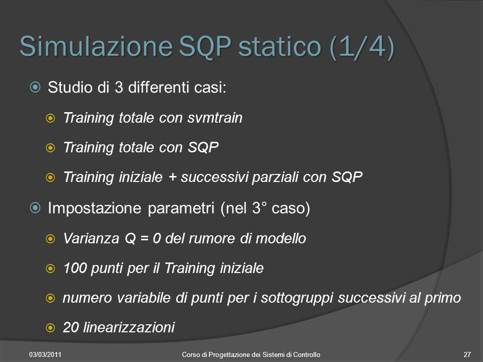 Simulazione SQP statico (1/4) 03/03/2011Corso di Progettazione dei Sistemi di Controllo27 Studio di 3 differenti casi: Training totale con svmtrain Tr
