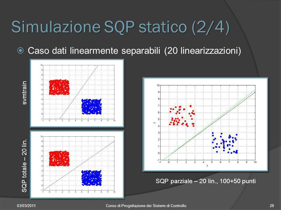 Simulazione SQP statico (2/4) 03/03/2011Corso di Progettazione dei Sistemi di Controllo28 Caso dati linearmente separabili (20 linearizzazioni) svmtra