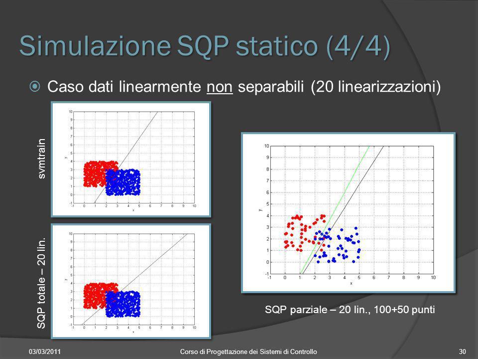 Simulazione SQP statico (4/4) 03/03/2011Corso di Progettazione dei Sistemi di Controllo30 Caso dati linearmente non separabili (20 linearizzazioni) sv