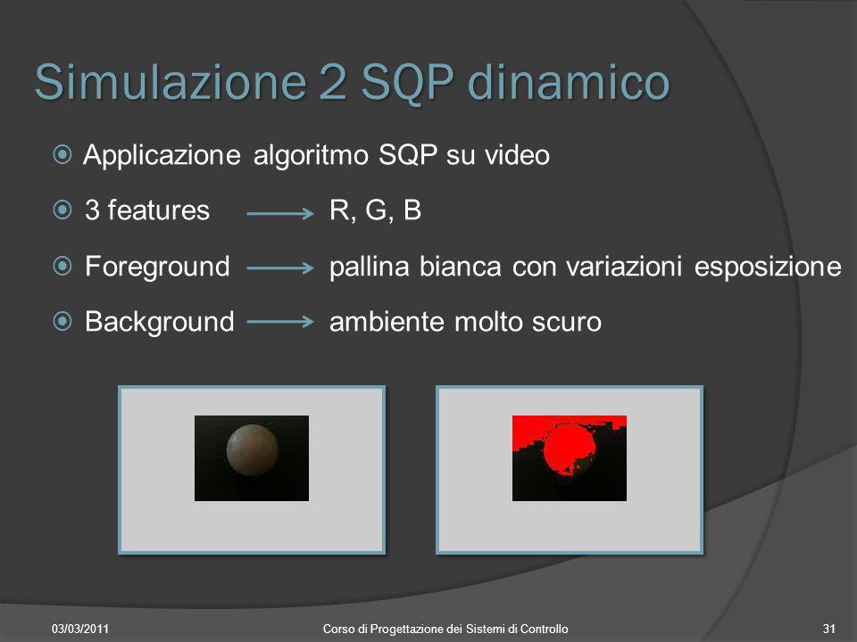 Simulazione 2 SQP dinamico 03/03/2011Corso di Progettazione dei Sistemi di Controllo31 Applicazione algoritmo SQP su video 3 features R, G, B Foregrou