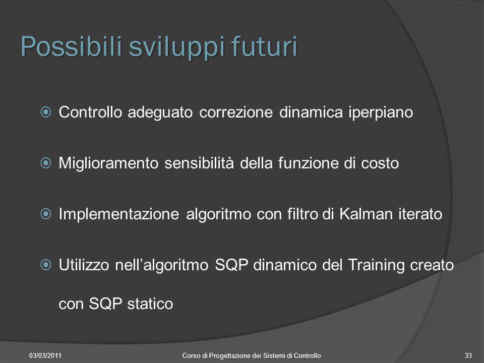 Possibili sviluppi futuri 03/03/2011Corso di Progettazione dei Sistemi di Controllo33 Controllo adeguato correzione dinamica iperpiano Miglioramento s