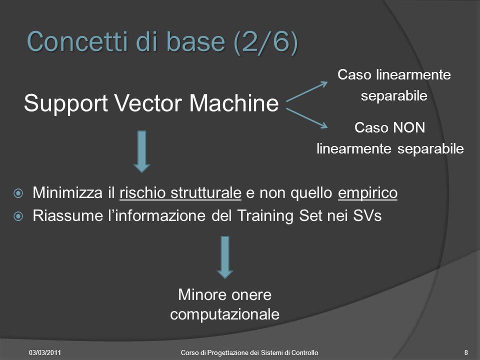 Concetti di base (2/6) Support Vector Machine 03/03/2011Corso di Progettazione dei Sistemi di Controllo8 Caso linearmente separabile Caso NON linearme