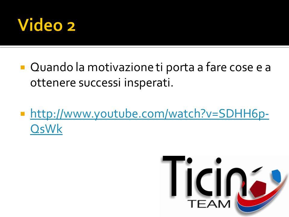 Quando la motivazione ti porta a fare cose e a ottenere successi insperati. http://www.youtube.com/watch?v=SDHH6p- QsWk http://www.youtube.com/watch?v