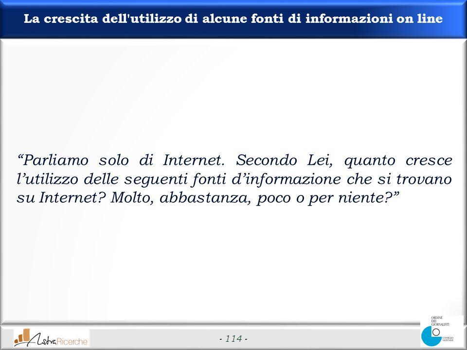 - 114 - La crescita dell utilizzo di alcune fonti di informazioni on line Parliamo solo di Internet.
