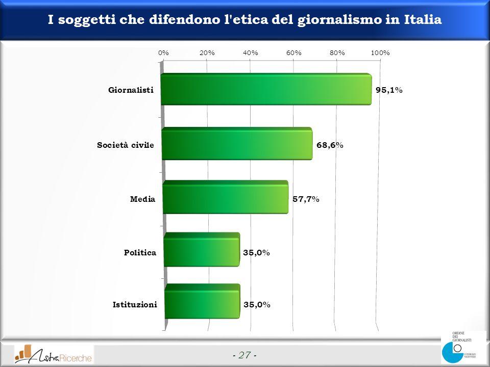 - 27 - I soggetti che difendono l etica del giornalismo in Italia