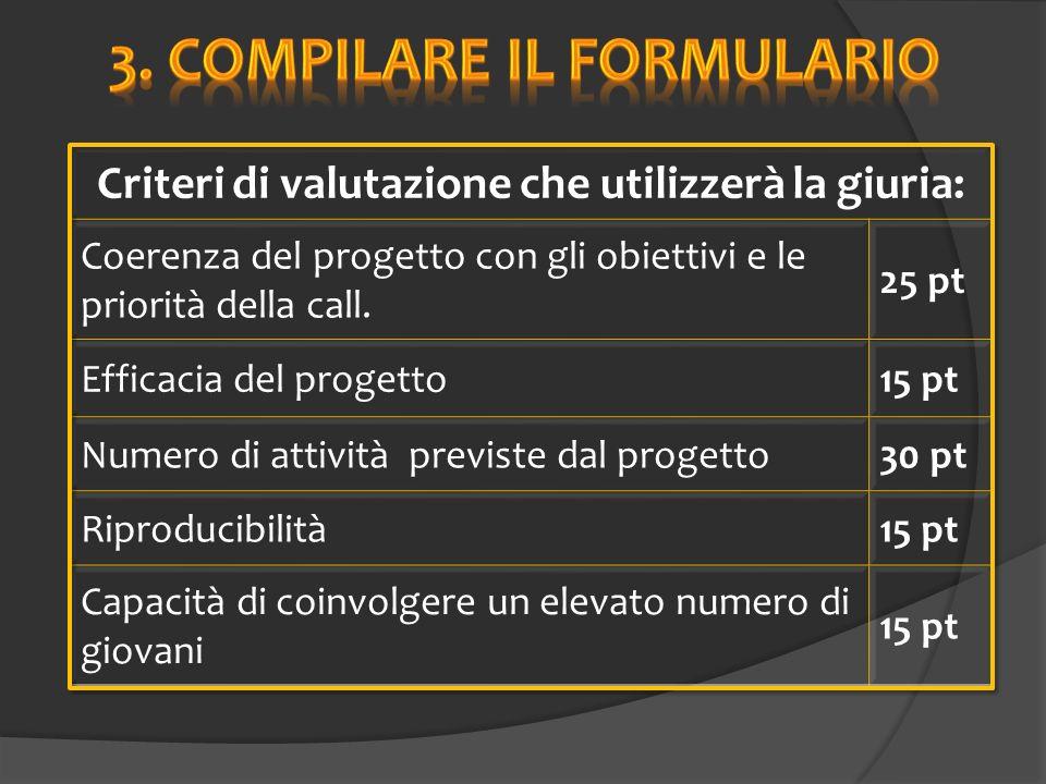 Criteri di valutazione che utilizzerà la giuria: Coerenza del progetto con gli obiettivi e le priorità della call.
