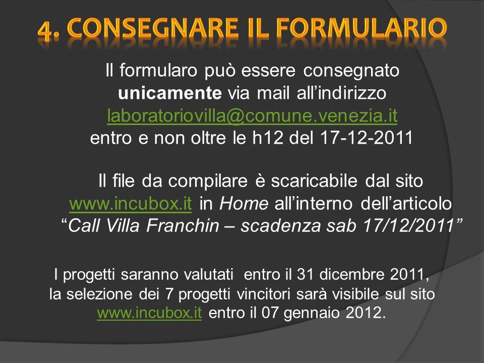 I progetti saranno valutati entro il 31 dicembre 2011, la selezione dei 7 progetti vincitori sarà visibile sul sito www.incubox.it entro il 07 gennaio 2012.