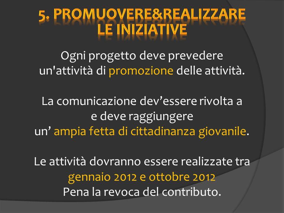 Ogni progetto deve prevedere un attività di promozione delle attività.