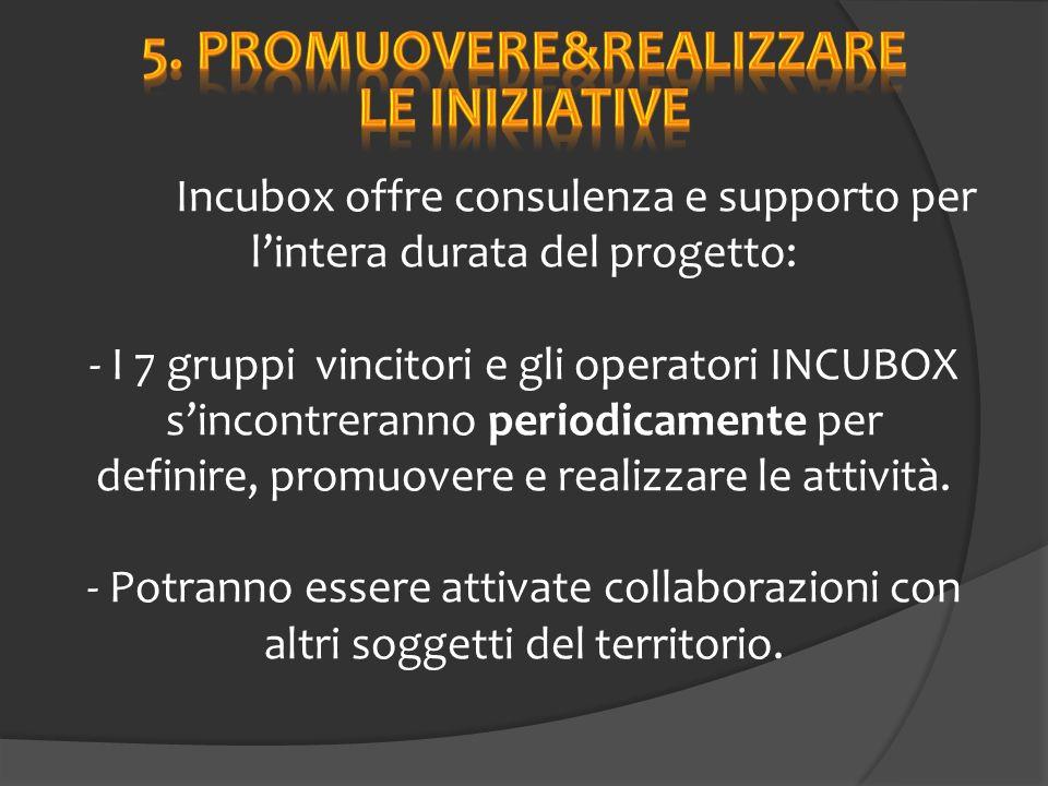 Incubox offre consulenza e supporto per lintera durata del progetto: - I 7 gruppi vincitori e gli operatori INCUBOX sincontreranno periodicamente per definire, promuovere e realizzare le attività.