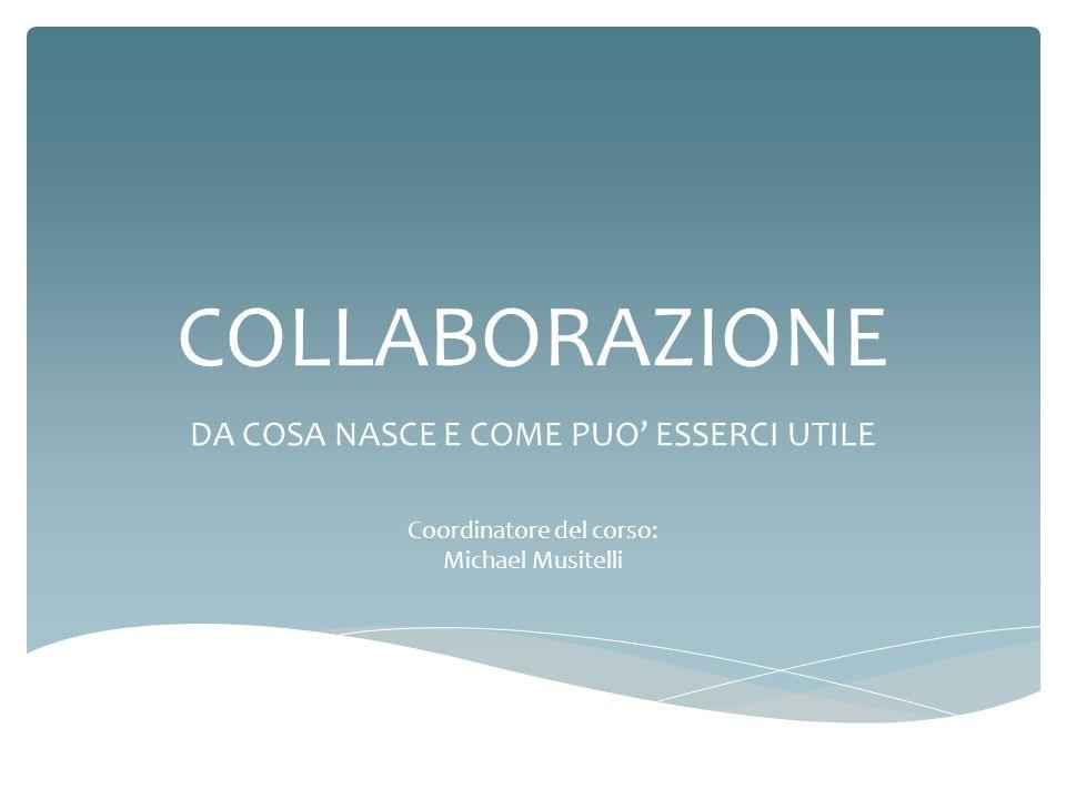 COLLABORAZIONE DA COSA NASCE E COME PUO ESSERCI UTILE Coordinatore del corso: Michael Musitelli