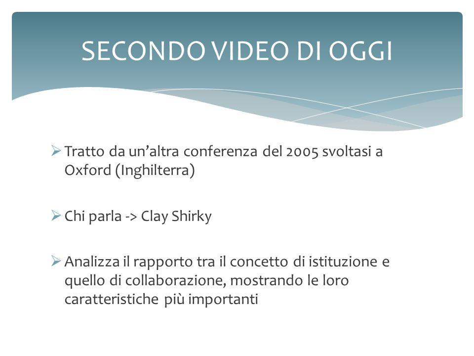Tratto da unaltra conferenza del 2005 svoltasi a Oxford (Inghilterra) Chi parla -> Clay Shirky Analizza il rapporto tra il concetto di istituzione e q