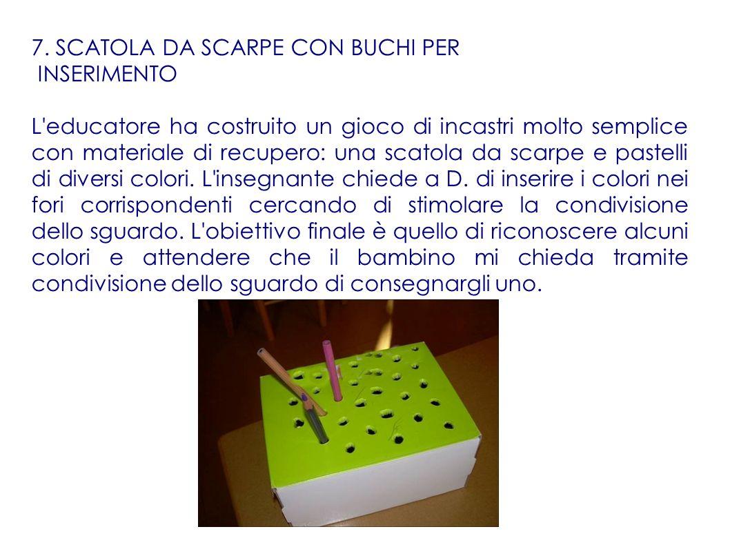 7. SCATOLA DA SCARPE CON BUCHI PER INSERIMENTO L'educatore ha costruito un gioco di incastri molto semplice con materiale di recupero: una scatola da