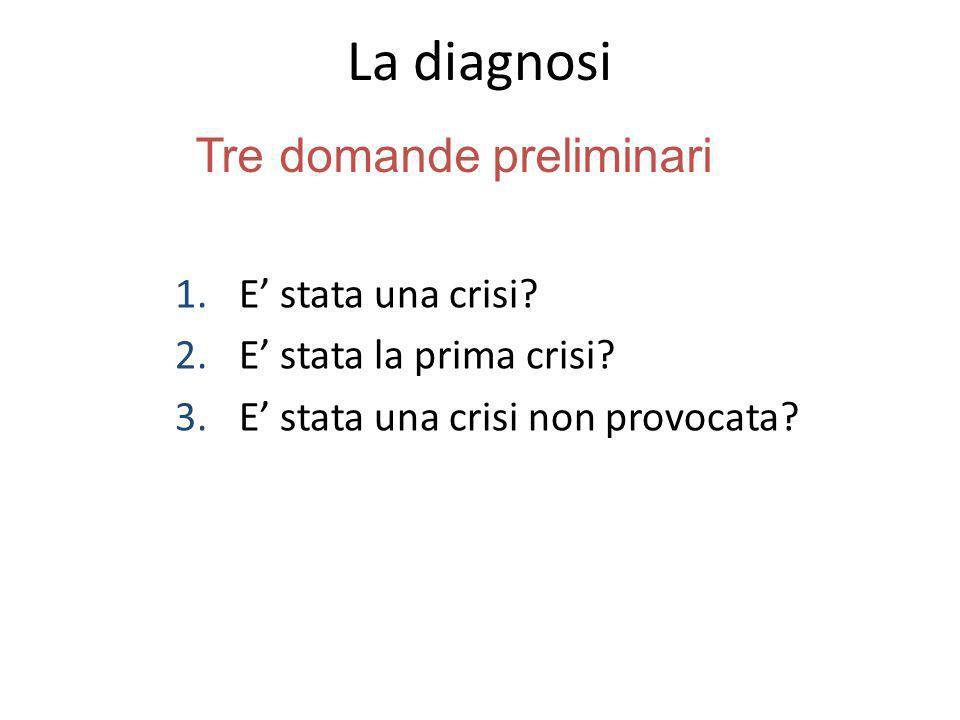 La diagnosi 1.E stata una crisi? 2.E stata la prima crisi? 3.E stata una crisi non provocata? Tre domande preliminari
