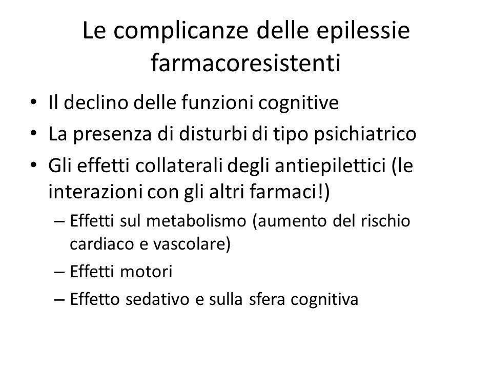 Le complicanze delle epilessie farmacoresistenti Il declino delle funzioni cognitive La presenza di disturbi di tipo psichiatrico Gli effetti collater