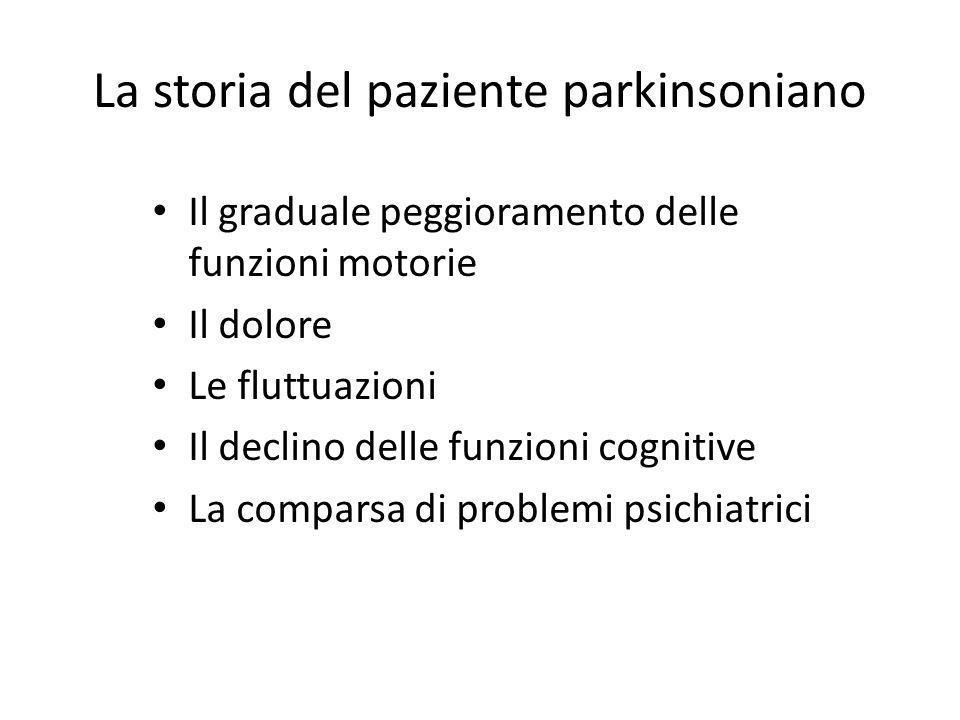 La storia del paziente parkinsoniano Il graduale peggioramento delle funzioni motorie Il dolore Le fluttuazioni Il declino delle funzioni cognitive La