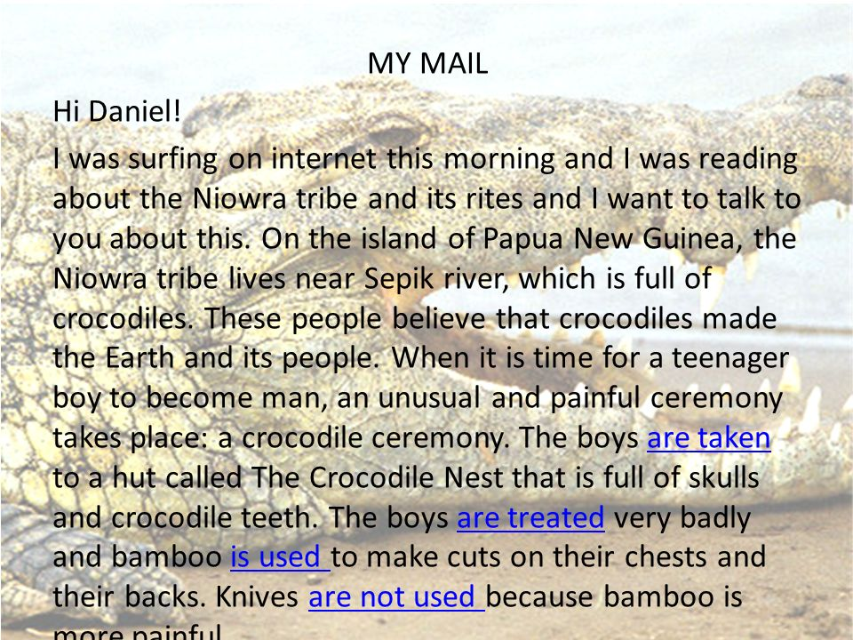 MY MAIL Hi Daniel! I was surfing on internet this morning and I was reading about the Niowra tribe and its rites and I want to talk to you about this.
