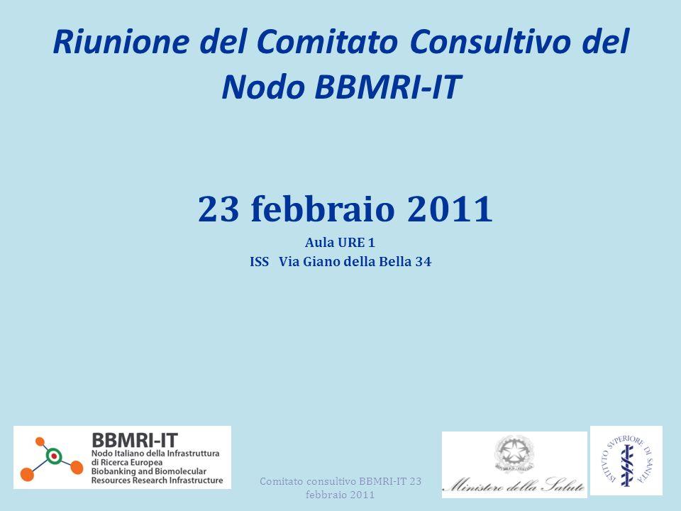 Riunione del Comitato Consultivo del Nodo BBMRI-IT 23 febbraio 2011 Aula URE 1 ISS Via Giano della Bella 34 Comitato consultivo BBMRI-IT 23 febbraio 2011