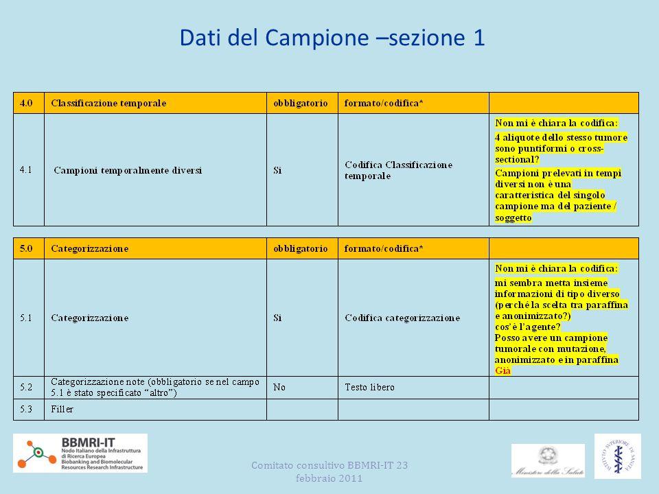 Dati del Campione –sezione 1 Comitato consultivo BBMRI-IT 23 febbraio 2011