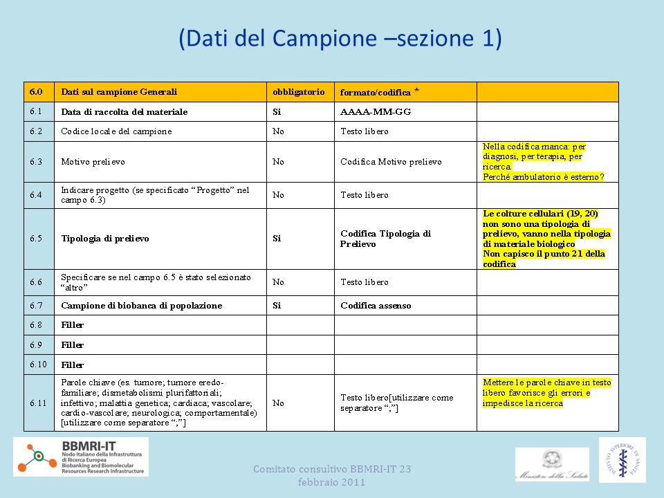 (Dati del Campione –sezione 1) Comitato consultivo BBMRI-IT 23 febbraio 2011
