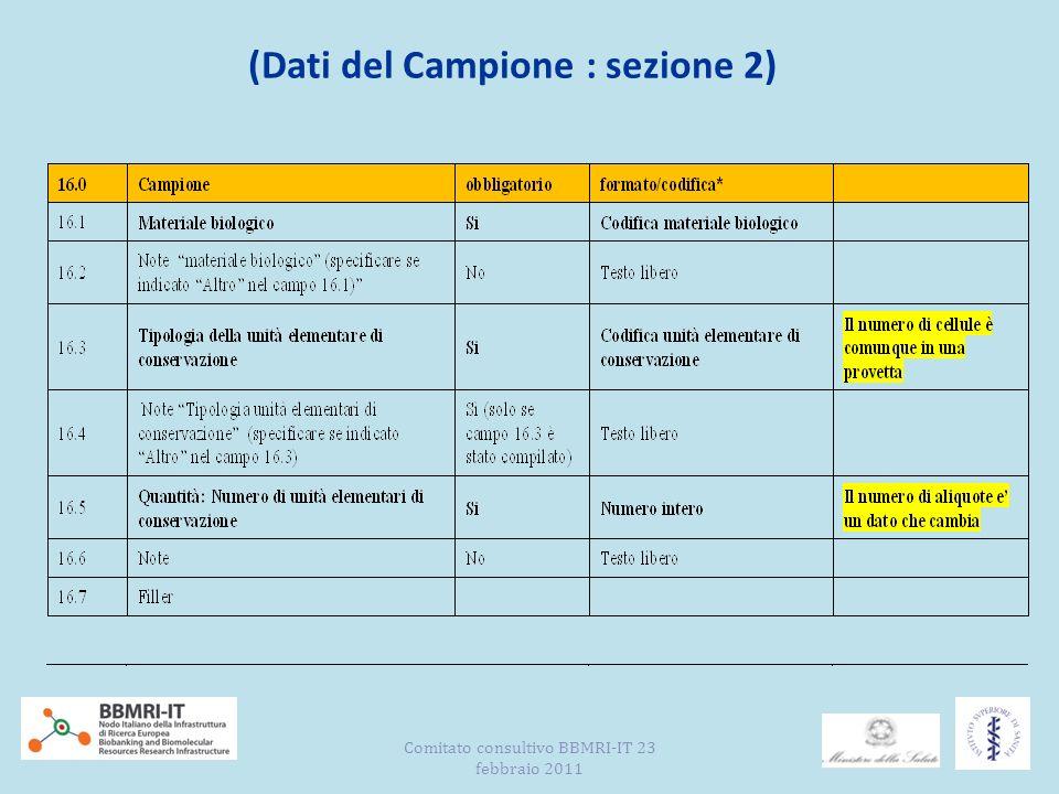 (Dati del Campione : sezione 2) Comitato consultivo BBMRI-IT 23 febbraio 2011
