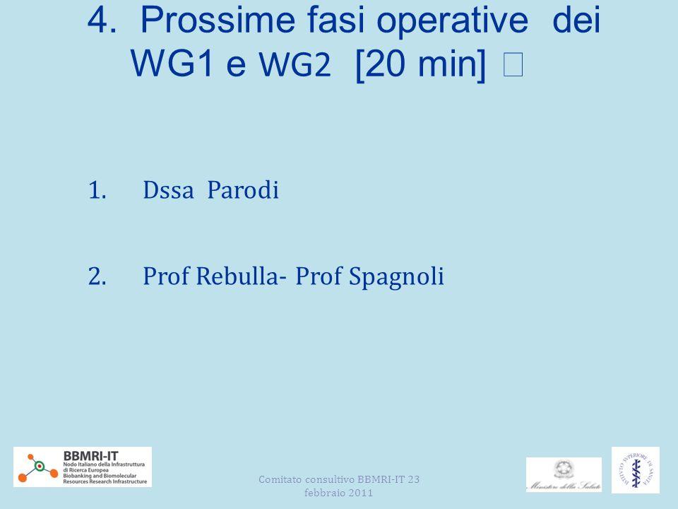 4. Prossime fasi operative dei WG1 e WG2 [20 min] 1.Dssa Parodi 2.Prof Rebulla- Prof Spagnoli Comitato consultivo BBMRI-IT 23 febbraio 2011