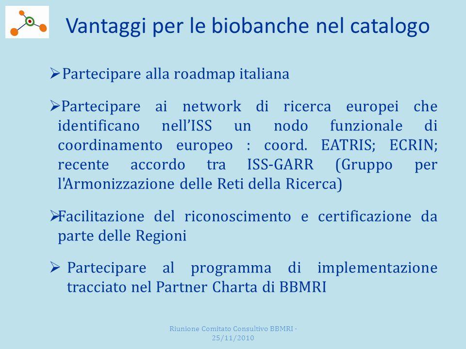 Vantaggi per le biobanche nel catalogo Partecipare alla roadmap italiana Partecipare ai network di ricerca europei che identificano nellISS un nodo funzionale di coordinamento europeo : coord.