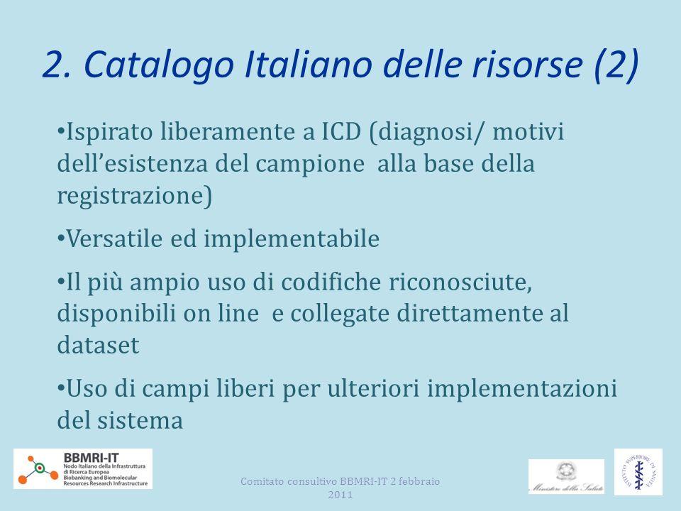 2. Catalogo Italiano delle risorse (2) Ispirato liberamente a ICD (diagnosi/ motivi dellesistenza del campione alla base della registrazione) Versatil