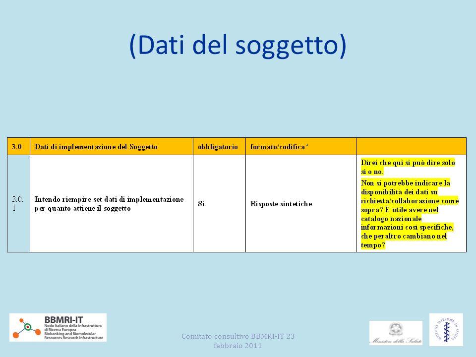 (Dati del Campione –sezione 1) (quadro di verifica) Comitato consultivo BBMRI-IT 23 febbraio 2011